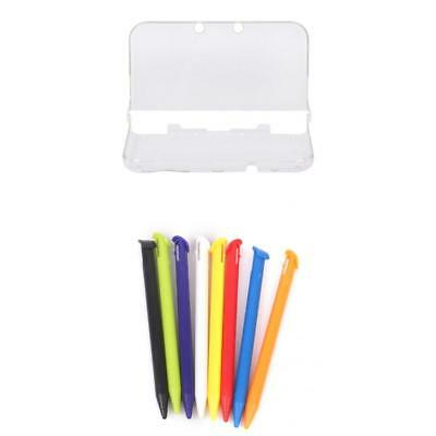 Clear Crystal Hard Protective Case + 8 Stylus Pen for New Nintendo 3DS XL LL