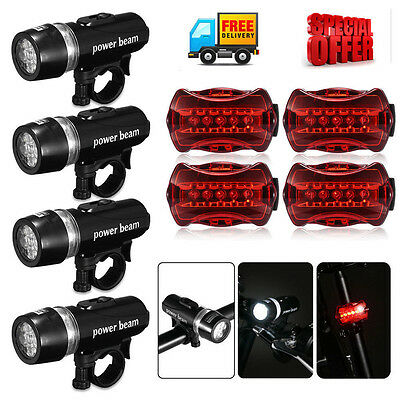4 x Waterproof Lamp Bike Bicycle Front 5 LED Head Light+ Rear Safety Flashlight