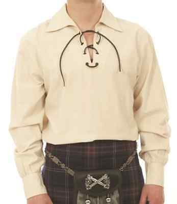 """sale Offer"" Sm Cream Deluxe Scottish Jacobean Laced Ghillie Shirt 4 Kilt Sale"