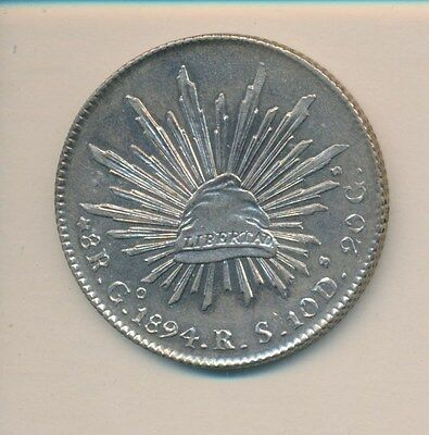 MEXICO SILVER 8 REALES 1894 GoRS CHOICE ORIGINAL BU - INVESTMENT