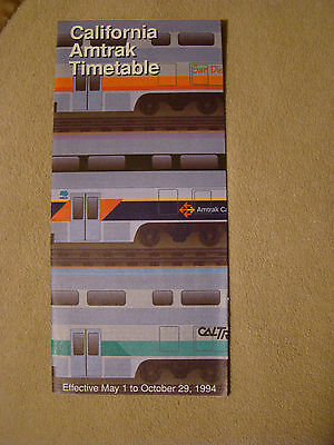 California Amtrak Timetable - May 1 to Oct. 29, 1994