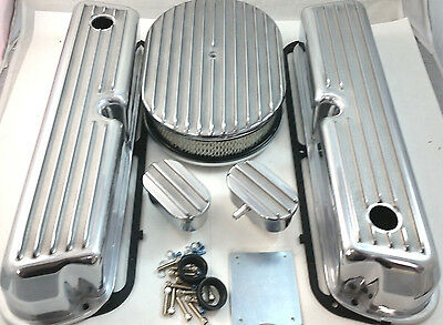 SB Ford SBF Finned Polished Aluminum Tall Valve Cover Kit 260 289 302 351W V8