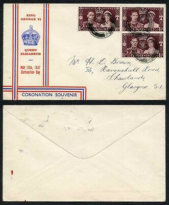 KGVI May 12th 1937 Coronation Day FDC Cover with Glasgow CDS
