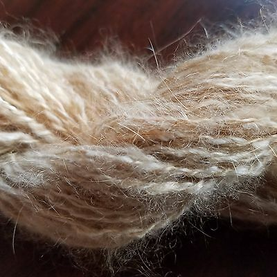 CRAZY Handspun Satin Angora Yarn Natural Fawn 30 yds lace to fingering wt 2 ply
