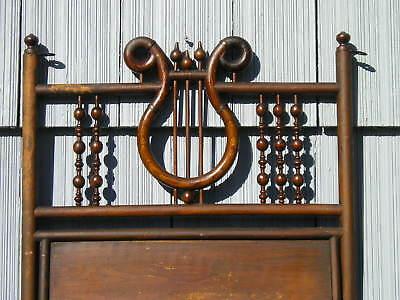 Rare Antique~Victorian Aged Ornate Lyre Design Wood Music Stand Stunning