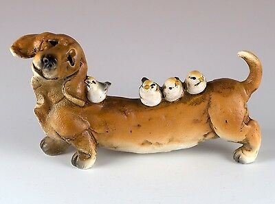 "Dachshund With Birds Dog Figurine 4.25"" Long Resin New In Box!"