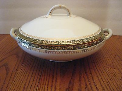Imperial Crown China Covered Dish Made In Austria White/green & Gold Trim