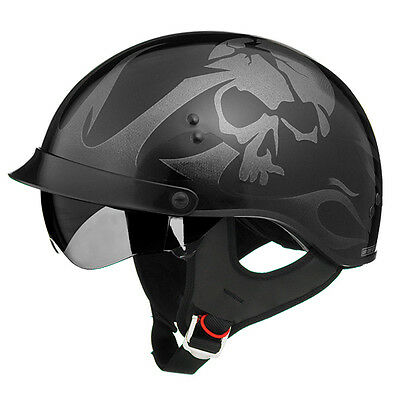 New Gloss Black Skull Motorcycle Shorty Half Helmet Retractable Visor Xsmall