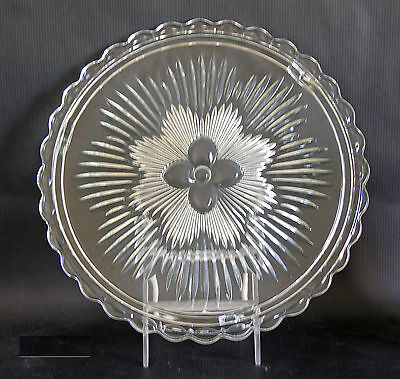 Indiana Glass Crystal Glass Cake Plate Vintage 1950s Original Box