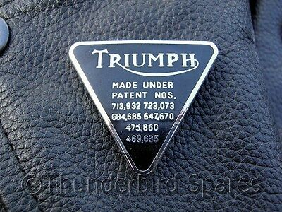 Triumph Patent Plate Enameled Lapel Badge (pin), Black & Chrome, Made in England