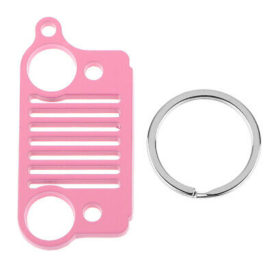 2x Steel Key Chain Ring Grill for Jeep Key Ring CJ JK TJ YJ XJ-Pink