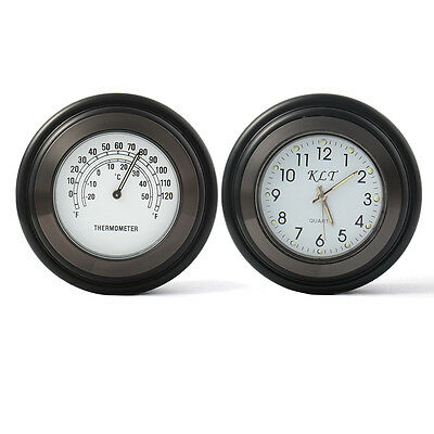 Motorcycle Clock Accessory Bike Handlebar Thermometer Watch Bar for Harley MA541