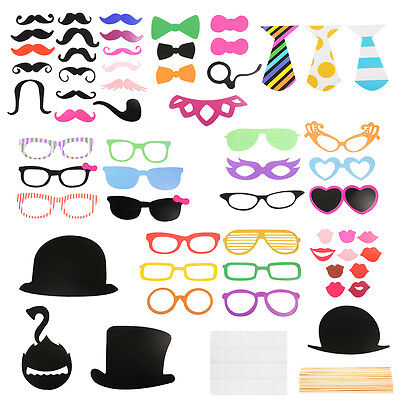 58x DIY Mask Photo Booth Props Mustache On A Stick Wedding Party Fun Favor WV233