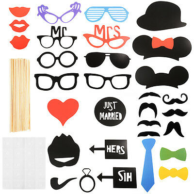 31pcs Colorful DIY Mask Photo Booth Props Mustache On Sticks Wedding Party WV231