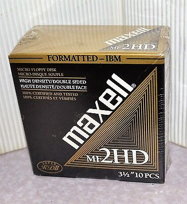 """New Sealed 10 Maxell 3.5"""" Floppy Disks MF-2HD 1.44 MB Formatted High Density"""