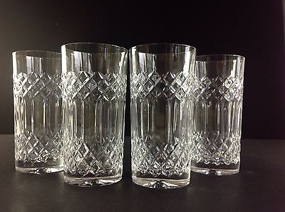 "4 Galway Crystal Rathmore Hi Ball Tumblers 5 5/8"" Boxed"