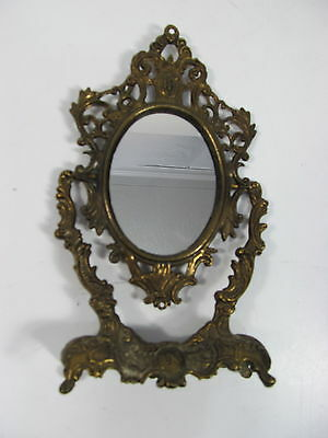 Vintage Small Oval Table Mirror Ornate Brass Mid Century Victorian