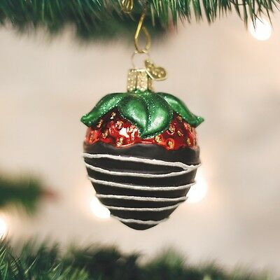 Old World Christmas Chocolate Dipped Strawberry Glass Ornament 28116 FREE BOX