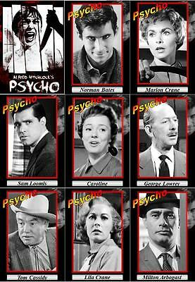 Psycho movie trading cards. 1960 classic Horror Norman Bates Motel Hitchcock