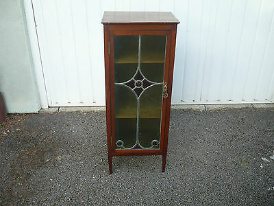 Quality pretty glass fronted cabinet stained glass mahogany very elegant