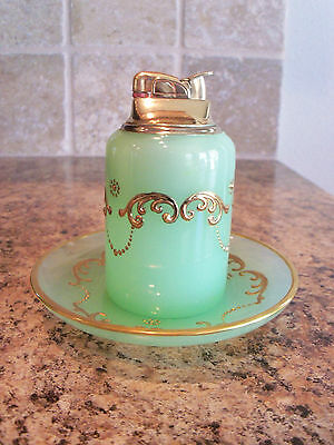 Vintage Clambroth Jadite Glass Cigarette Table Lighter w/Gold Paint & Plate