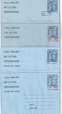 ETHIOPIA 1980's FOUR AIR LETTERS UPRATED TO 15¢ FG 28 29 31 32