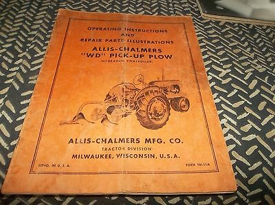 Vtg 1940s Allis Chalmers WD Pick Up Plow Operating & Parts Manual Book