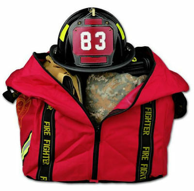 Deluxe Boot Style Firefighter Fireman Turnout Gear Bag - Red