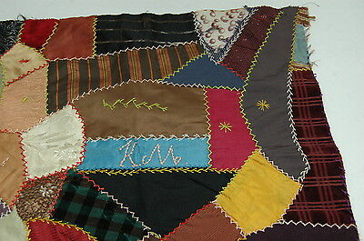 Antique Early Initial Crazy Quilt Block Colorful Intricate Stitching
