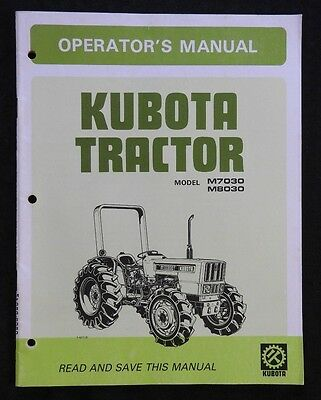 original kubota m7030 m8030 tractor operators manual very clean rh picclick com kubota b9200 owners manual kubota b8200 service manual download