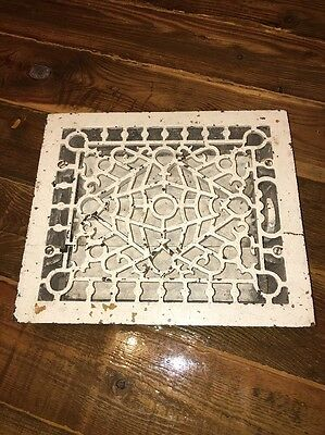 "VICTORIAN Cast Iron Floor Grille 10"" X 12"" Heat Grate Register with Louvers NICE"