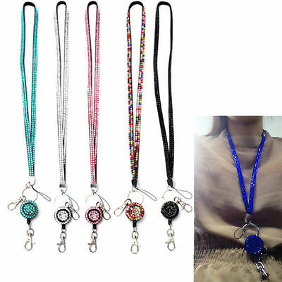 Bling Neck Rhinestone Crystal Lanyard Retractable Strap ID Badge Reel Key Holder