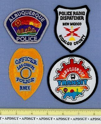 NEW MEXICO POLICE PATCH COLLECTION ~4 Hat Patches Lot 911 COMMUNICATIONS TRANSIT