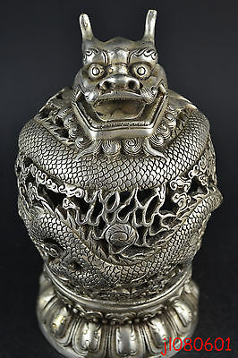 6.25 inch Silver Plate Copper Old Carve Dragon Hollow Out Big Incense Burner