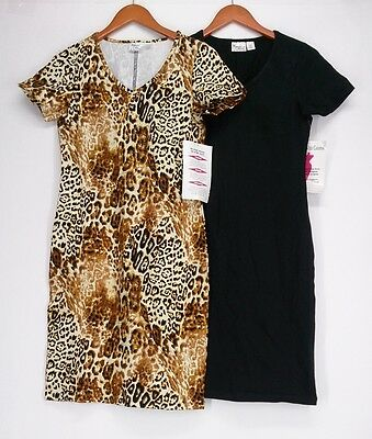 Women with Control Dress XXS Print & Solid Short Sleeve Black NEW 2nd