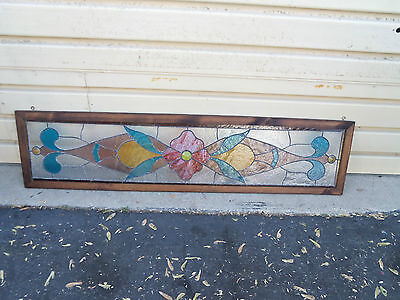 50236 Stained  Glass Leaded Window In Wood Picture Frame