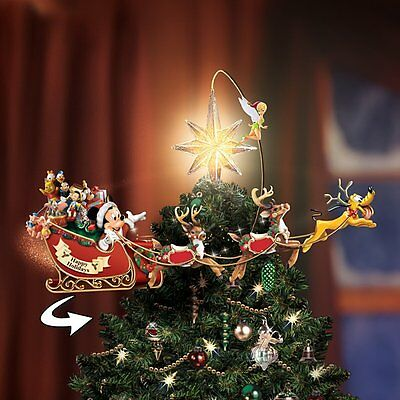 Holiday Disney Mickey Mouse Moving & Lighted Christmas Tree Topper New