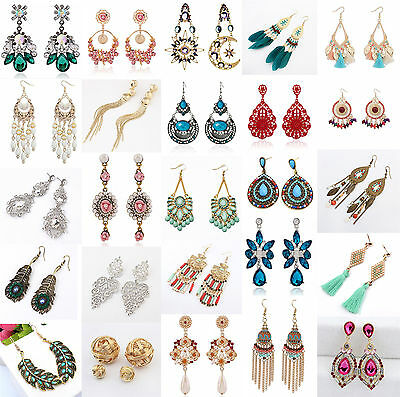 NEW 1 Pair Elegant Women Vintage Crystal Rhinestone Ear Stud Fashion Earrings