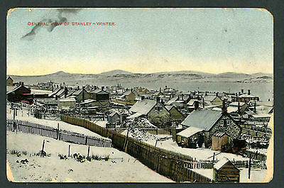 Falkland Islands A general view of Stanley in winter unused postcard