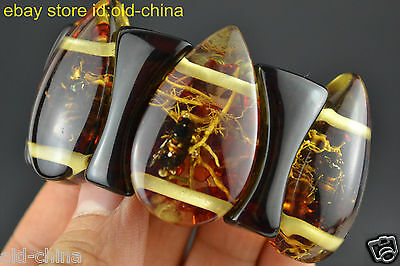 Asia China Exquisite Amber Inlay Bee 6 Combination Bracelet Noble Decor Women