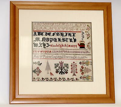 Antique Sampler Letters & Pictures Embroidered In 1857