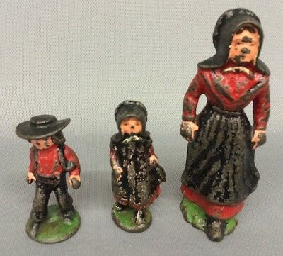 Vintage Old Cast Iron AMISH Family Mom, Boy & Girl Children Painted Figurines