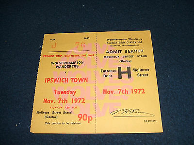 (Unused Ticket) WOLVES v IPSWICH TOWN 1972-73 Texaco Cup 2nd Rnd
