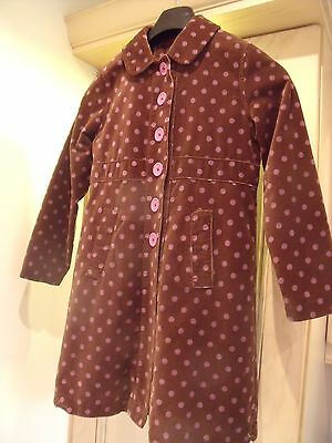 Girls Mini Boden chocolate brown spotted vevlet coat 9-10 years