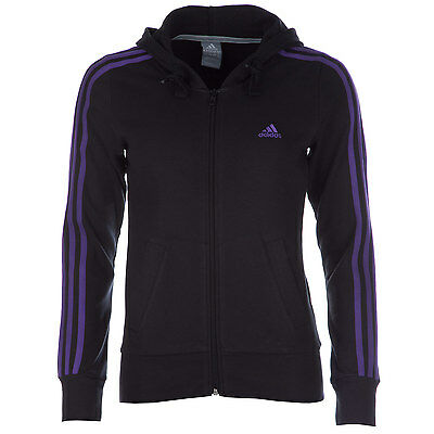 Womens adidas Womens Essentials 3-Stripes Hooded Jacket in Black - 12