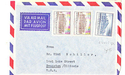 Austria 1955 Air Mail Cover To Us Vf