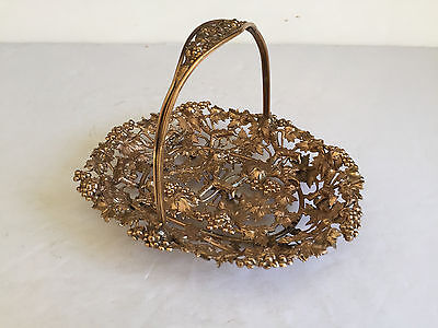 Antique Gilt Brass Filligree Grape Bunch Vine Basket with Handle