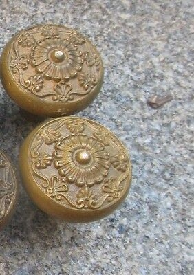 2  Vintage  Victorian Solid   Brass   Door  Knobs  & a  SHAFT