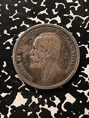 1890 Norway 2 Kroner Lot#8665 Scarce! Large Silver Coin!