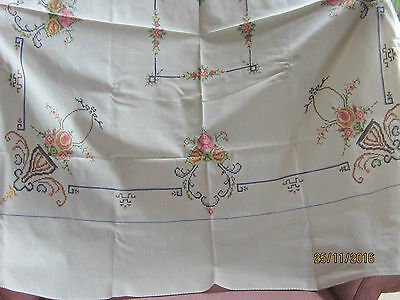 Vintage hand Embroidered Tablecloth 48 X 45 Square - SIMPLY LOVELY unused